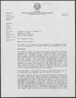 Letter from Chuck Nash, Chairman of Texas Parks and Wildlife Department to William P. Clements