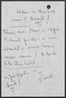 Handwritten note by William P. Clements with Oil Overcharge Restitutionary Act Bill, May 30, 1987