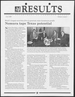 "Newsletter titled ""Results: Texas Department of Commerce Report"" Volume I, Issue 3, June 1988"