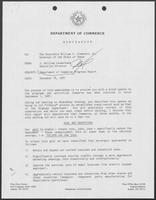 Memo from J. William Lauderback to William P. Clements, Jr., regarding Department of Commerce Progress Report, December 18, 1987