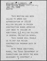 Remarks prepared for William P. Clements, Jr., for Bond Review Board, January 29, 1988