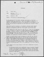 Memo from Bob Davis to Senior Staff, regarding TEC Briefing on Unemployment Taxes, February 2, 1988