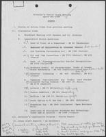 Agenda and minutes from the Governor's Senior Staff meeting, April 18, 1989
