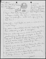 Handwritten notes by William P. Clements regarding the Superconducting Super Collider, March 27, 1988