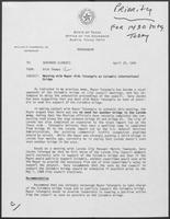 Memo from Rich Thomas to William P. Clements regarding meeting with Mayor Aldo Tatangelo on Colombia International Bridge, April 25, 1988