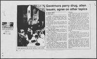 "Newspaper clipping headlined ""Governors parry drug, alien issues; agree on other topics,"" May 31, 1990"