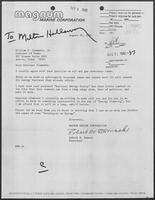 Letter from Robert M. Womack to Governor William P. Clements, Jr., August 26, 1982