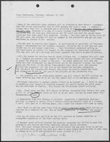 Report regarding Williams P. Clements Jr.'s preparations for February 19, 1981 press conference