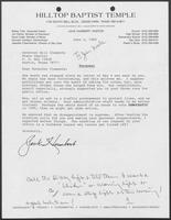 Letter from Jack Humbert to William P. Clements, Jr., June 3, 1989