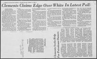 "Newspaper clipping headlined, ""Clements claims edge over White in latest poll,"" October 14, 1982"