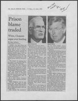 "Newspaper clipping headlined ""White, Clements argue over funding,"" June 13, 1986"