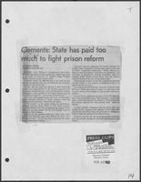 "Newspaper clipping headlined, ""Clements: State has paid too much to fight prison reform,"" Houston Chronicle, March 27, 1982"