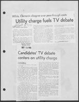 "Newspaper clipping headlined, ""Utility charge fuels TV debate,"" October 12, 1982"