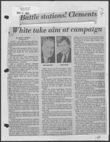 "Newspaper clipping headlined, ""Battle stations! Clements, White take aim at campaign,"" May 9, 1982"