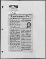 "Newspaper clipping headlined, ""Clements recycles dirt on White in tough tabloid,"" September 27, 1982"