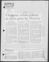 "Newspaper clipping headlined: ""Clements orders prisons to open gates by Monday,"" May, 14, 1982"