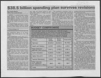 "Newspaper clipping headlined, ""$38.5 billion spending plan survives revisions,"" 1987"