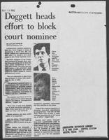 "Newspaper clipping headlined ""Doggett heads effort to block court nominee,"" November 13, 1982"