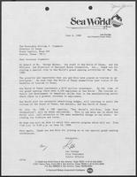 Letter from Leo Zuniga to Bill Clements regarding Sea World of Texas grand opening, June 6, 1988