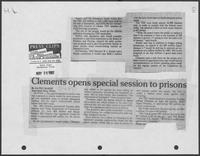 "Newspaper clipping headlined, ""Clements opens special session to prisons,"" Henderson Daily News, May 26, 1982"