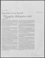 "Newspaper clipping headlined: ""Minority delegates exit"", July 25, 1975"