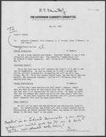 Memo from Richard Collins to William P. Clements, Rita Clements, H.R. Bright, Peter O'Donnell, and Jim Francis, May 20, 1980