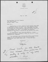 Letter from George Bush to William P. Clements, Jr., May 16, 1986