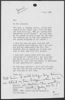 Memo from Janie Harris to William P. Clements, Jr., July 7, 1986