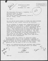 Letter from William E. Brock to William P. Clements, November 18, 1986