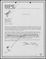 Letter from T. Don Stacy to William P. Clements, Jr., January 6, 1983