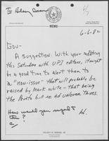 Handwritten memo from Hilary Doran to William P. Clements Jr., June 6, 1982