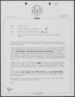 Memo from David Herndon to Governor William P. Clements, Jr., regarding agenda for Texas Board of Corrections meeting, June 21, 1982
