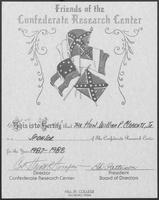 Friends of the Confederate Research Center Certificate given to William P. Clements