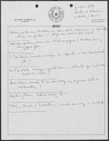 Handwritten notes on breakfast meeting between William P. Clements, Bill Hobby, and Gibson Lewis, March 21, 1989