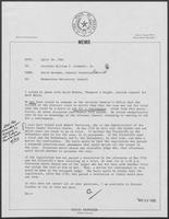Memo from David Herndon to William P. Clements, April 30, 1982