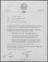Memo from David Herndon to Governor William P. Clements, Jr., regarding distribution of oil overcharges, October 12, 1982