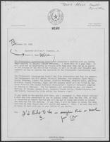 Memo from David A. Dean to William P. Clements, December 30, 1980