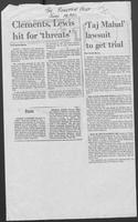 "Newspaper Clipping headlined ""Clements, Lewis, hit for 'threats' and 'Taj Mahal' lawsuit to get trial, June 14, 1980"