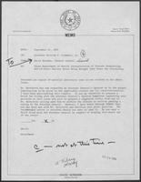 Memo from David Herndon to William P. Clements Jr.,  regarding Texas Department of Health Interpretation of Statute Prohibiting Out-of-State Nuclear Waste Being Brought into Texas for Processing, September 21, 1982