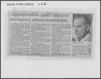 "Newspaper clipping headlined, ""Appropriation panel approves emergency prison construction,"" March 4, 1981"