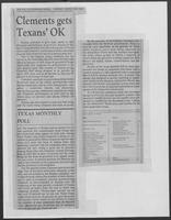 """Clements gets Texans' OK,"" Dallas Morning News, March 29, 1981"