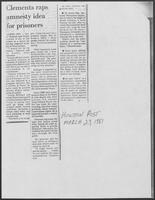 "Newspaper clipping headlined, ""Clements raps amnesty idea for prisoners,"" March 23, 1981"