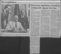 "Newspaper clipping headlined, ""Anti-crime legislation, including wiretap bill, signed into law,"" June 2, 1981"