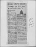 "Newspaper clipping headlined ""Senate okays prison emergency program, working furloughs"" March 24, 1981"