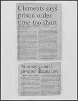 "Newspaper clipping headlined ""Clements says prison order time too short"", April 22, 1981"