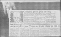 "Newspaper clipping headlined, ""Clements' prison plan hits snag,"" 1981"
