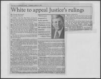 "Newspaper clipping headlined ""White to appeal Justice's rulings,"" April 21, 1981"