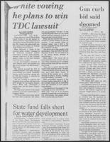 "Newspaper clipping headlined ""White vowing he plans to win TDC lawsuit,"" March 29, 1981"