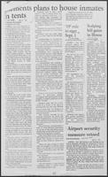 "Newspaper clipping headlined ""Clements plans to house inmates in tents"" May 8, 1981"