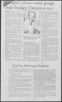 "Newspaper clipping headlined ""Go for the tent maker"" May 14, 1981"